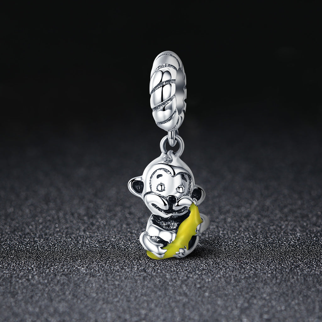 100% 925 Sterling Silver Animal Collection Cute Monkey & Banana Love Charm fit Charm Bracelet Bangle DIY Jewelry SCC520