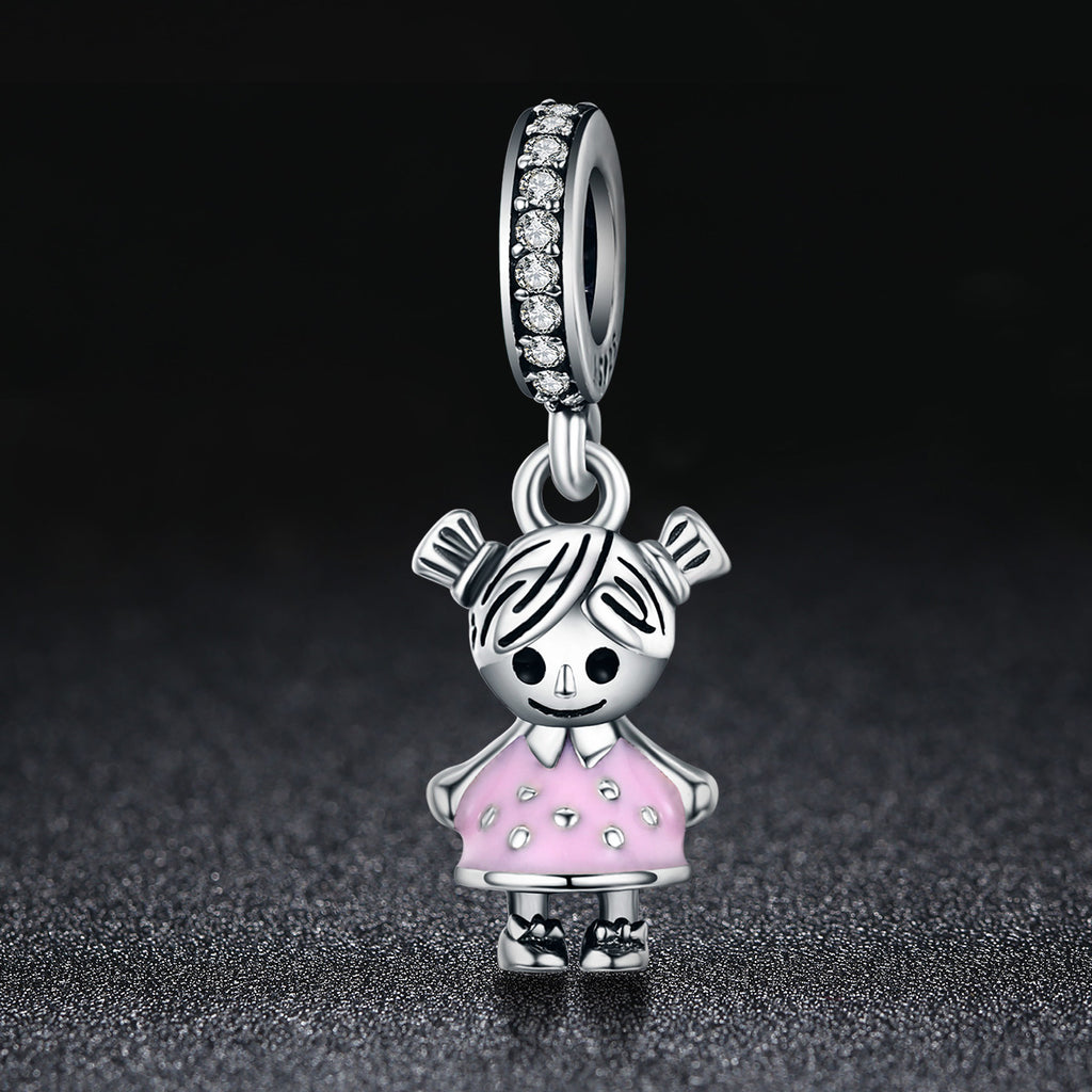 Fashion 100% 925 Sterling Silver Little Girl Pendant Charm fit Girls Charm Bracelet & Necklaces DIY Jewelry SCC543