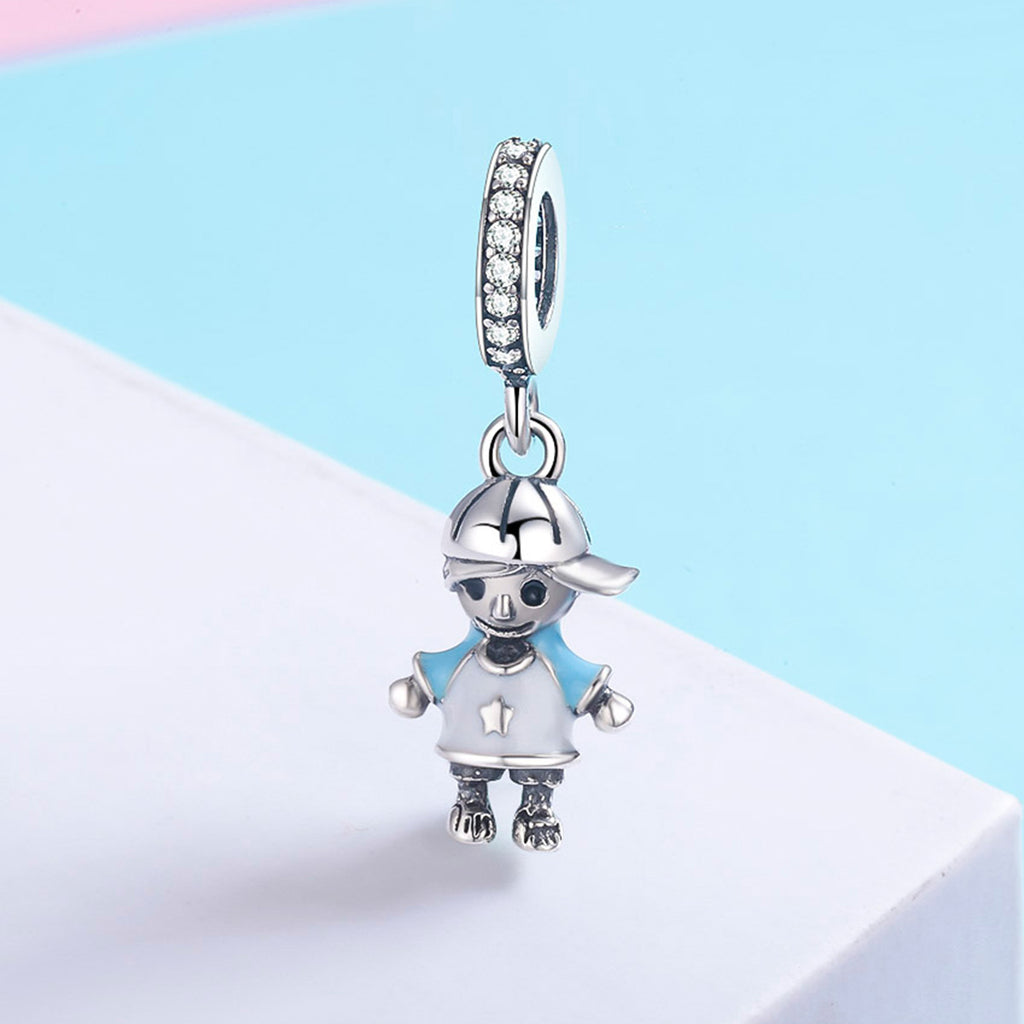 Fashion 100% 925 Sterling Silver Little Boy Pendant Charm fit Boys Charm Bracelet & Necklaces DIY Jewelry SCC544