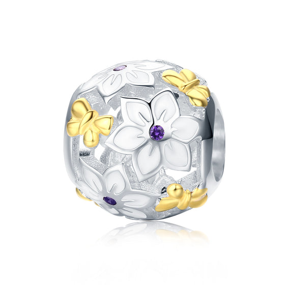 100% 925 Sterling Silver Spring Collection Flower & Butterfly Enamel Charm Beads fit Charm Bracelet Fine Jewelry SCC546