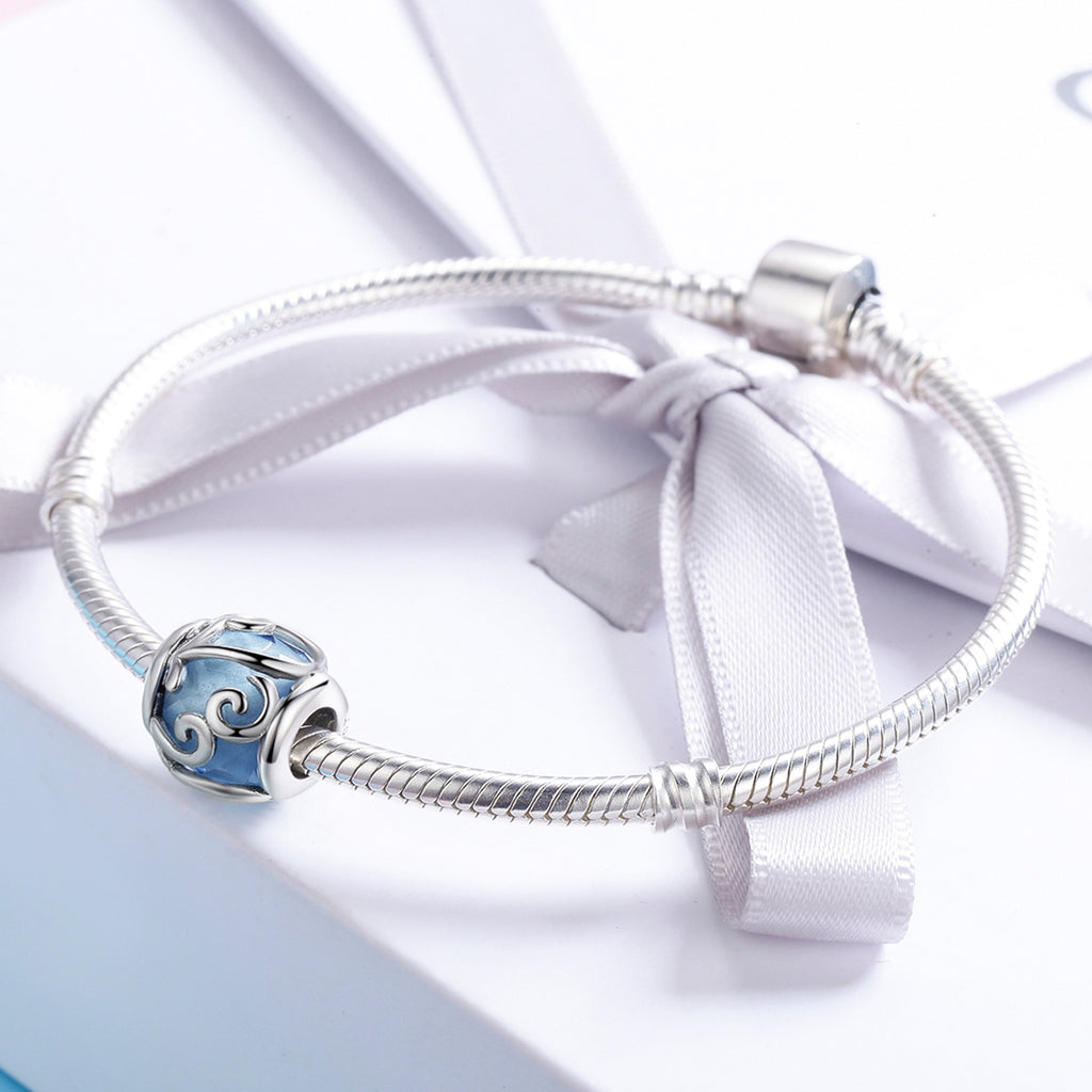 100% 925 Sterling Silver Dancing Waves Light Blue Crystal Stone Charm Beads fit Women Charm Bracelet DIY Jewelry SCC557