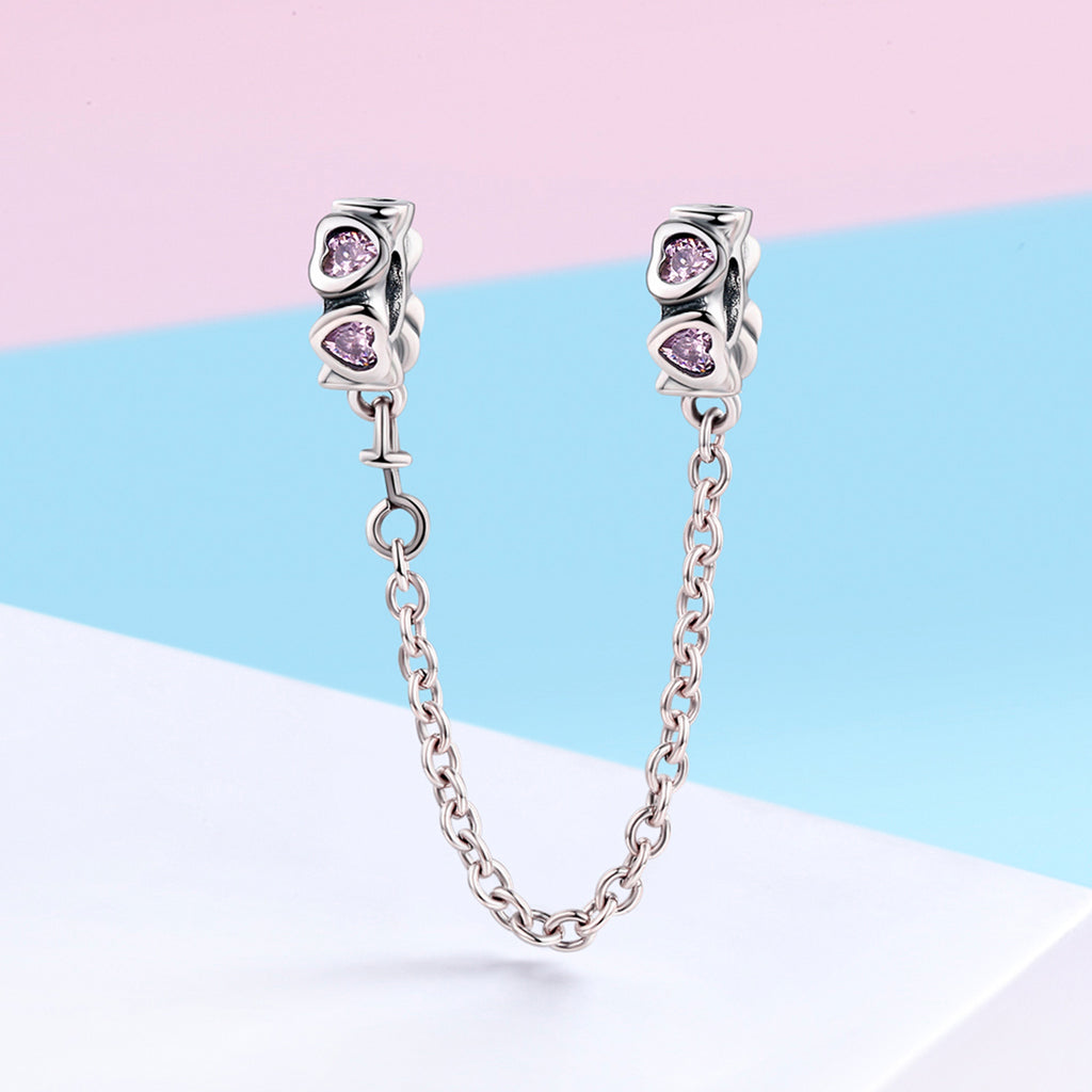 100% 925 Sterling Silver Sweet Inspiration Pink Heart Safety Chain Stopper Charm fit Charm Bracelet DIY Jewelry SCC562
