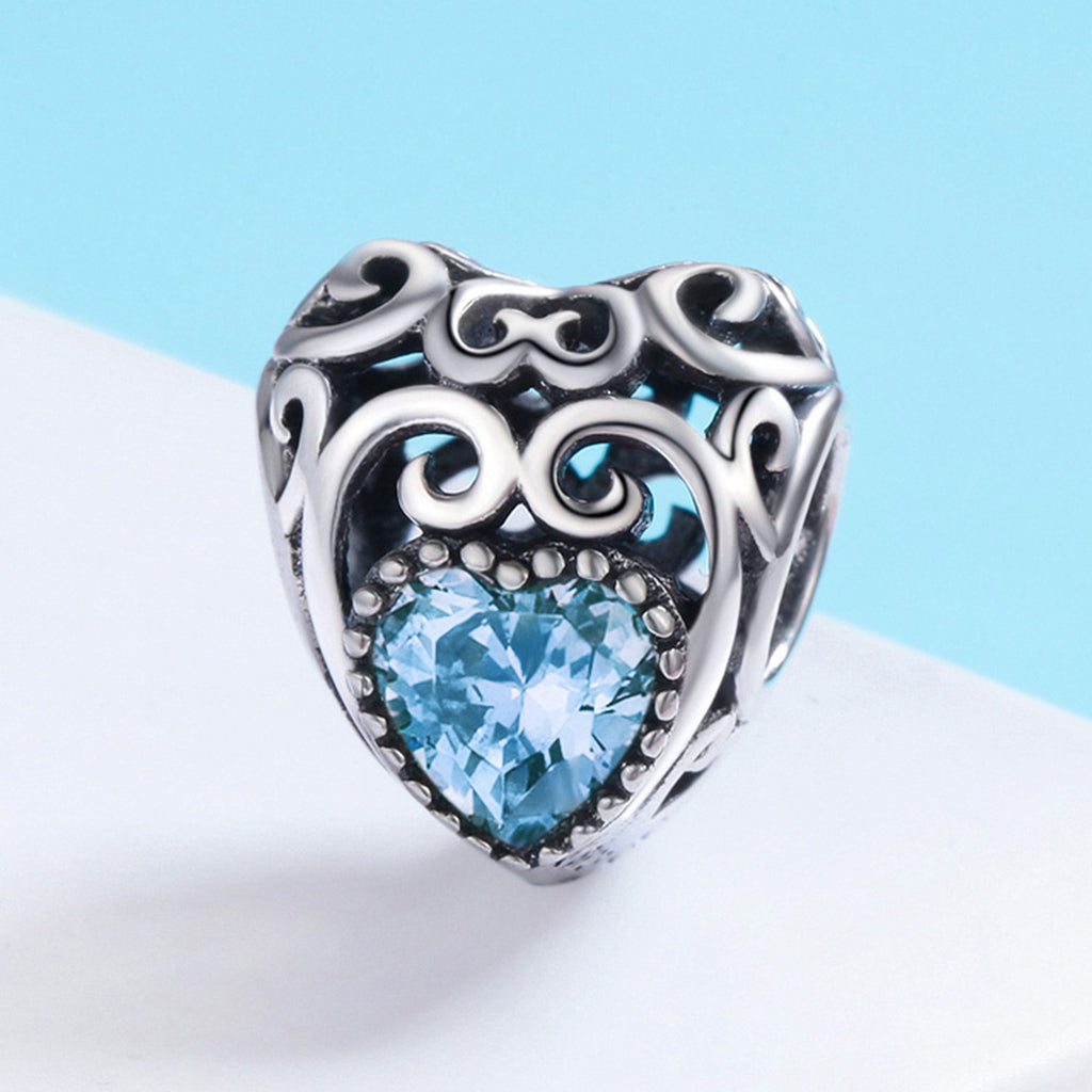 100% 925 Sterling Silver Leaves Wave Heart Light Blue AAA Zircon Beads fit Charm Bracelet DIY Jewelry Making S SCC573-3