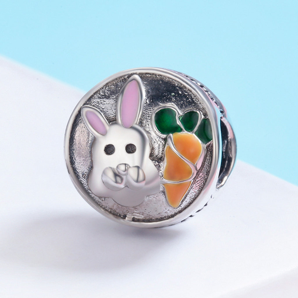 100% 925 Sterling Silver Easter Day Adorable Rabbit and Carrot Charm fit Women Charm Bracelet & Necklace Jewelry SCC576