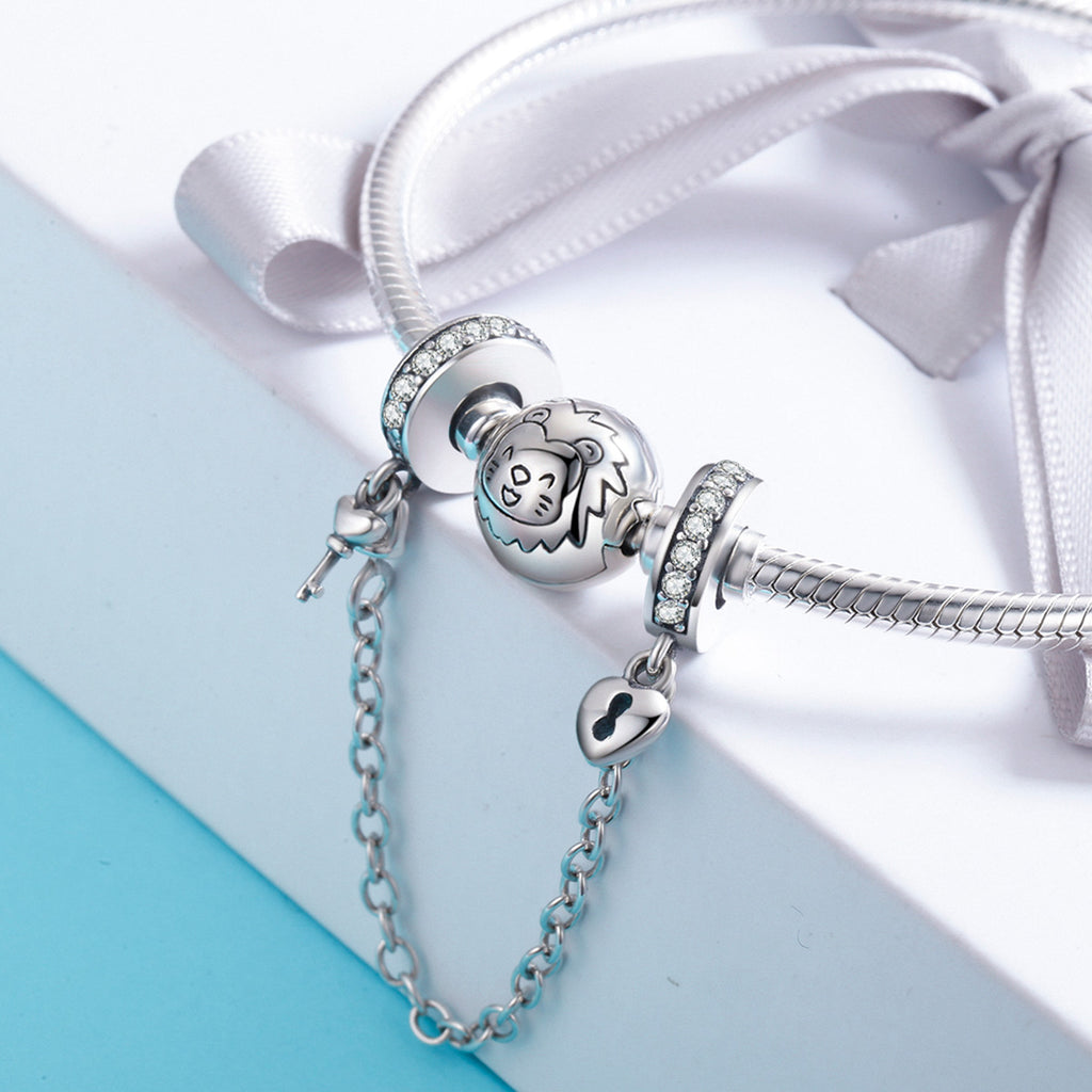 Authentic 925 Sterling Silver Stackable Heart Love Heart Dangle Safety Chain Charm fit Charm Bracelet DIY Jewelry SCC606
