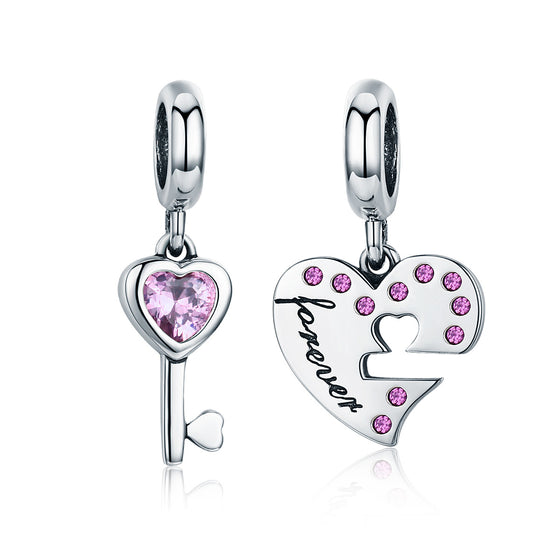 Romantic 925 Sterling Silver Lock Key of Heart Pink CZ Charm Pendant fit Charm Bracelet Jewelry Girlfriend Gift SCC638