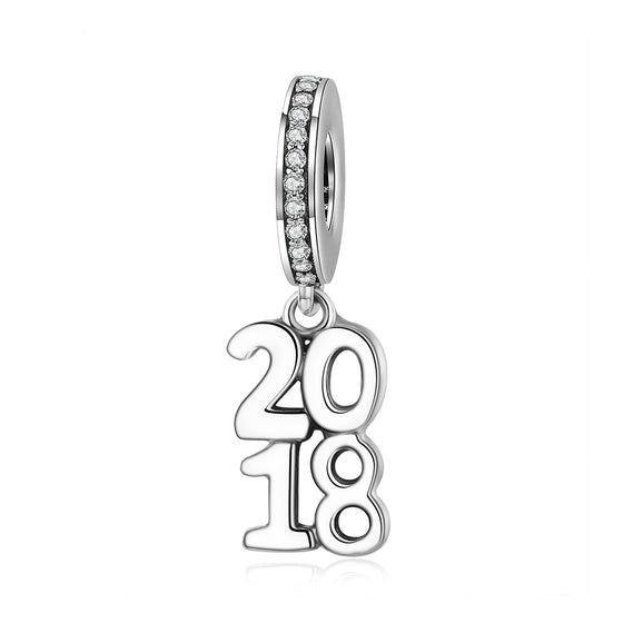 2018 New 100% 925 Sterling Silver 2018 Letter Alphabet Dangle Charm Pendant fit Charm Bracelet Necklace Jewelry SCC642