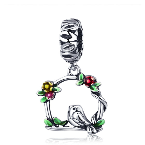 New Arrival 100% 925 Sterling Silver Herald Of Spring Bird Cage Pendant Charm fit Women Bracelet DIY Jewelry Gift SCC645