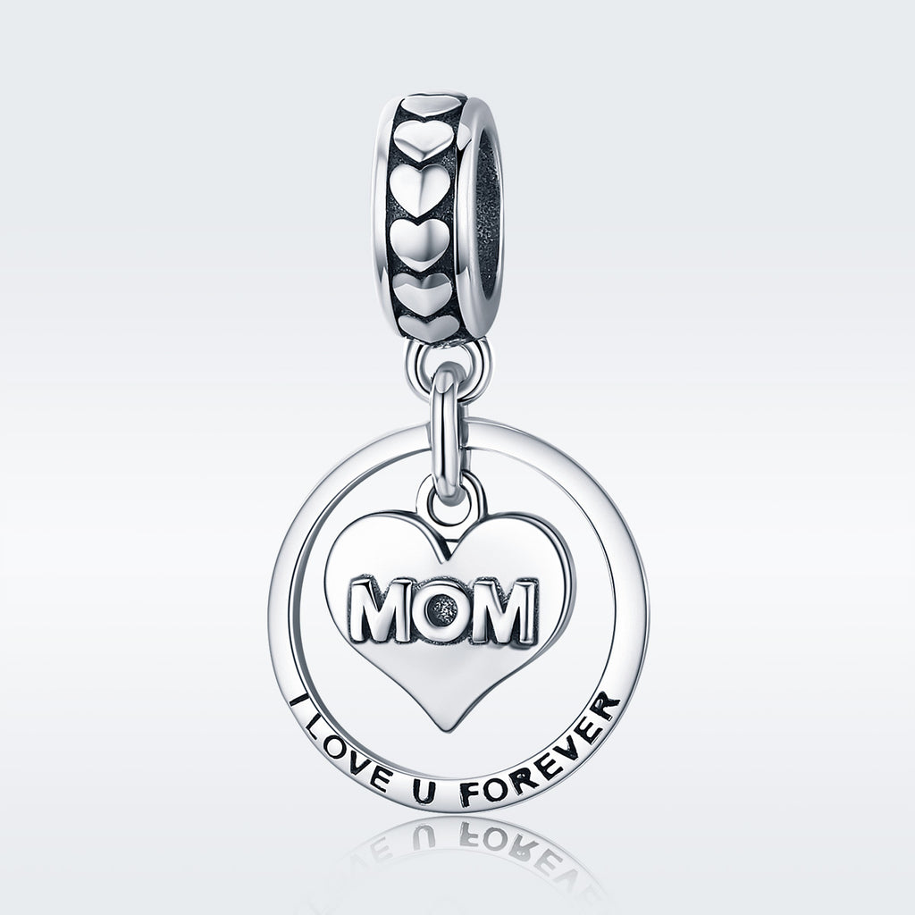 100% 925 Sterling Silver Mom I Love You Forever Heart Charm Pendant fit Women Bracelet & Necklace Jewelry Gift SCC649
