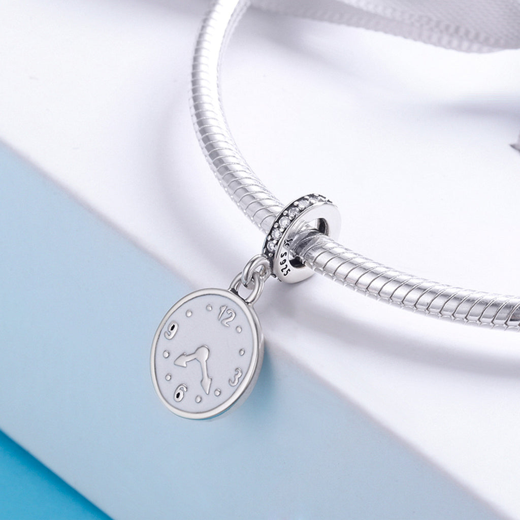 100% Genuine 925 Sterling Silver Clock Happy Time Engrave Pendant Charm fit Women Bracelet Sterling Silver Jewelry SCC657