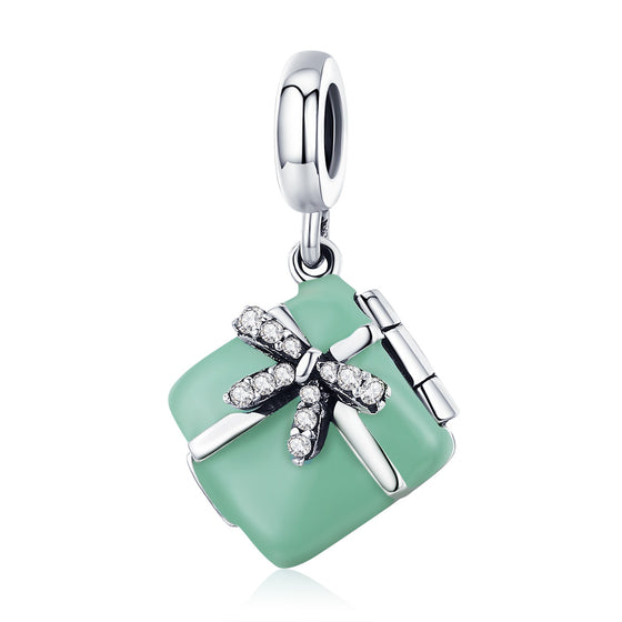 Authentic 925 Sterling Silver Pink Bowknot CZ Charm Pendant For Women Xmas Gift