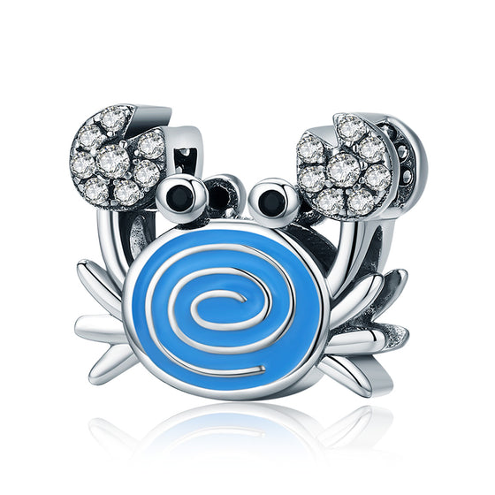 Real 925 Sterling Silver Funny Crab Clear CZ Blue Enamel Charm Beads fit Women Bracelets & Necklaces DIY Jewelry SCC682
