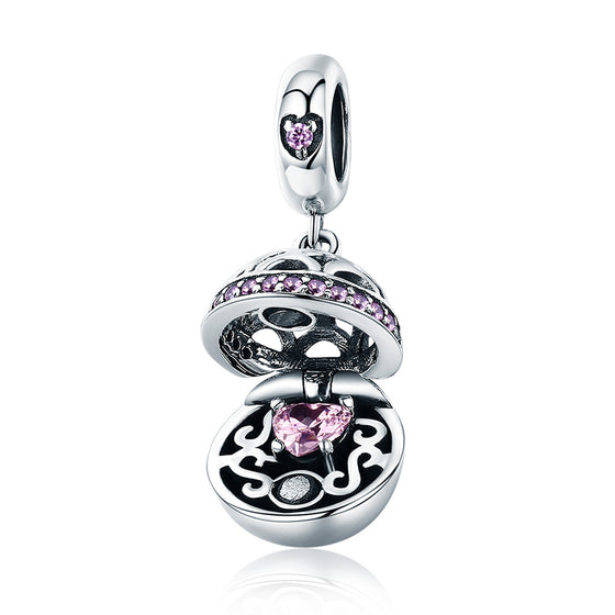 Authentic 925 Sterling Silver Love Gift Box Dangle Ball Charm Pendant fit Women Charm Bracelet & Necklaces Jewelry SCC689