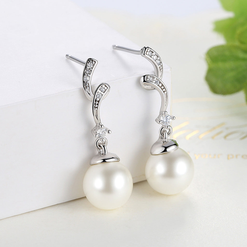 Unique Design 100% 925 Sterling Silver Simulated Pearl & Wave Drop Earrings Women Fashion Jewelry  SCE035