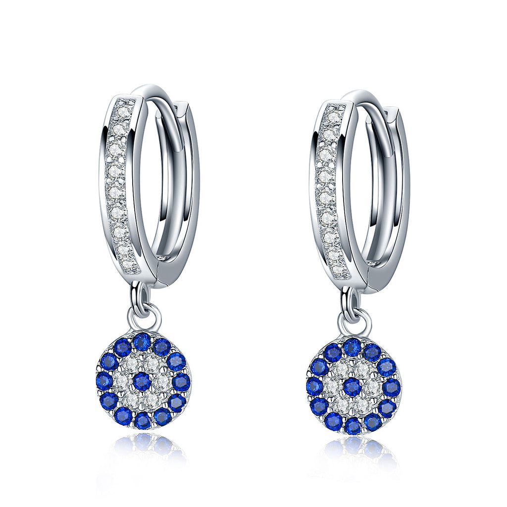 925 Sterling Silver Round Blue Clear Cubic Zircon Crystal Drop Earrings for Women Authentic Silver Jewelry SCE058