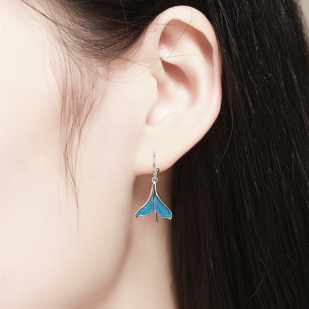 925 Sterling Silver Ocean Sea Whale's Tail Drop Earrings for Women Sterling Silver Jewelry SCE065