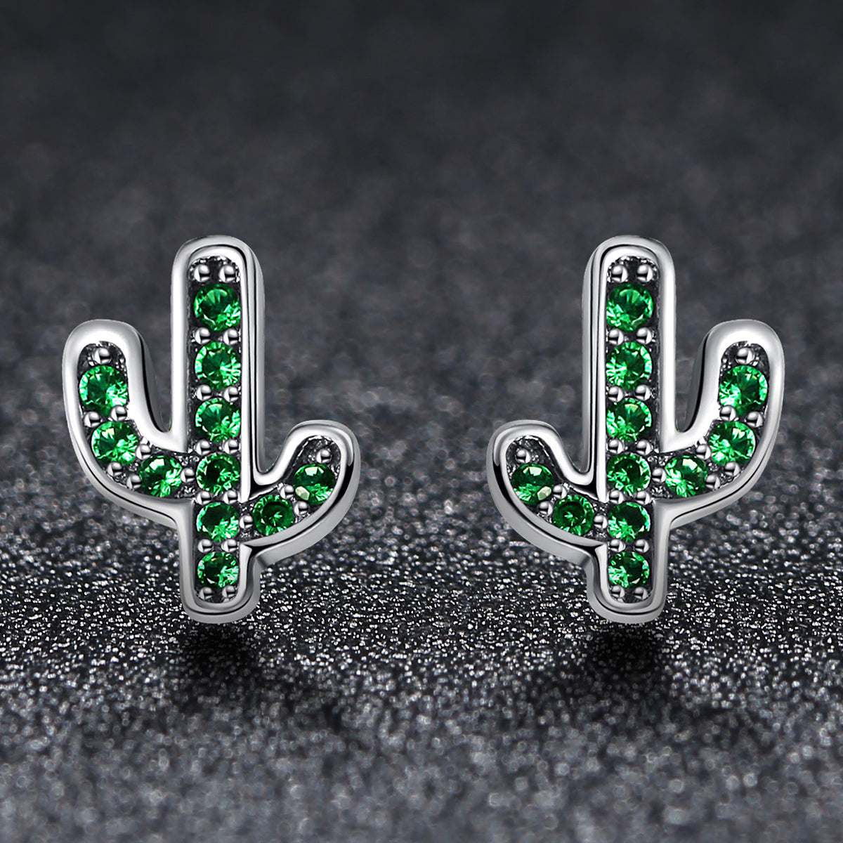 bdace4a26 ... 925 Sterling Silver Dazzling Green Cactus Crystal Stud Earrings for  Women Authentic Silver Jewelry SCE097 ...