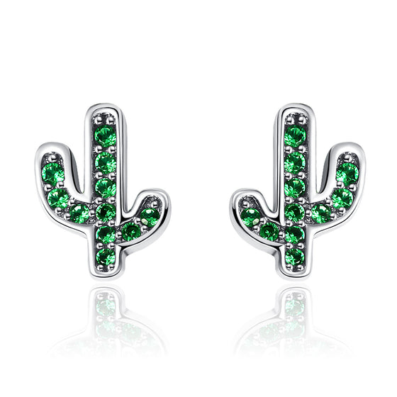 925 Sterling Silver Dazzling Green Cactus Crystal Stud Earrings for Women Authentic Silver Jewelry SCE097