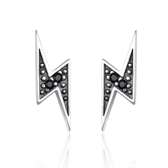 925 Sterling Silver Exquisite Lightning & Black Cubic Zircon CZ Stud Earrings for Women Fine Jewelry SCE156