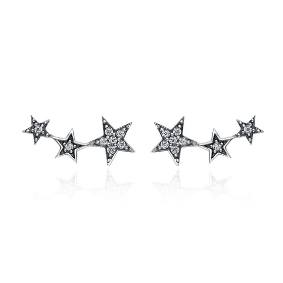 Authentic 925 Sterling Silver Sparkling CZ Exquisite Stackable Star Stud Earrings for Women Fine Jewelry Gift SCE175