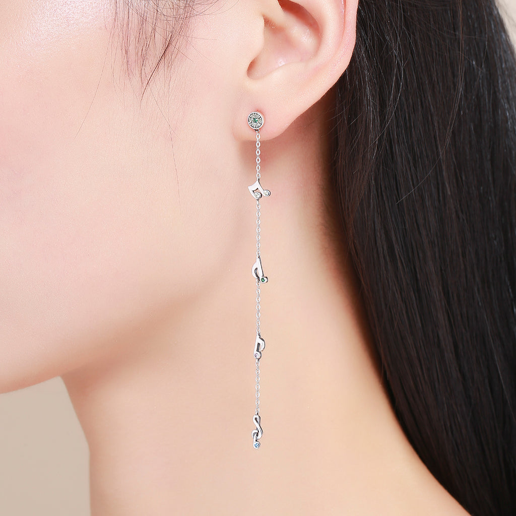 100% 925 Sterling Silver Swaying Notes Long Drop Earrings for Women Sterling Silver Earrings Jewelry SCE202