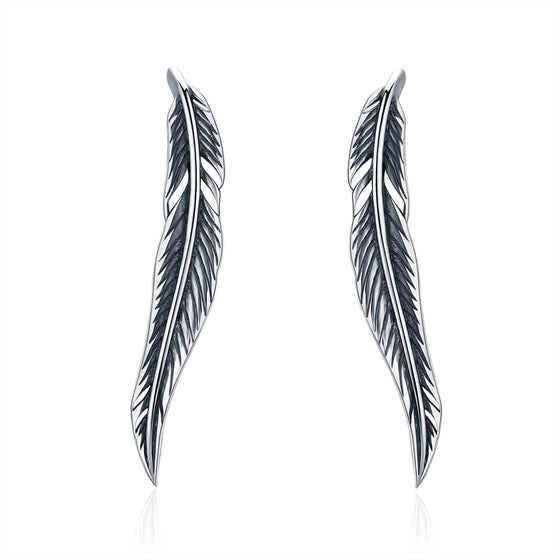 Authentic 100% 925 Sterling Silver Feathers Wing Stud Earrings With White Clear CZ for Women Anniversary Jewelry SCE258