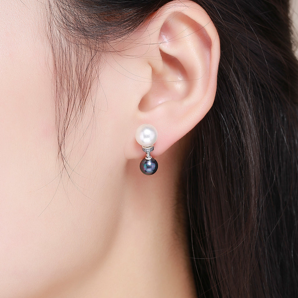100% 925 Sterling Silver Double Ball Elegant Exquisite Stud Earrings for Women Fashion Silver Jewelry SCE304