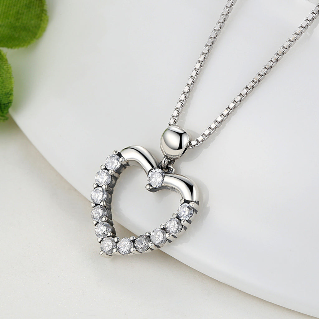 925 Sterling Silver Crafted Open Heart Love Pendant Necklace with Sparkling Cubic Zironia Gems 18 SCN025