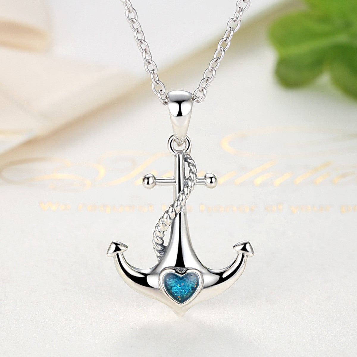 766080ba2 ... Classic 925 Sterling Silver Blue Heart Crystal Anchor Pendant Necklaces  Women Fashion Jewelry Engagement SCN051 ...