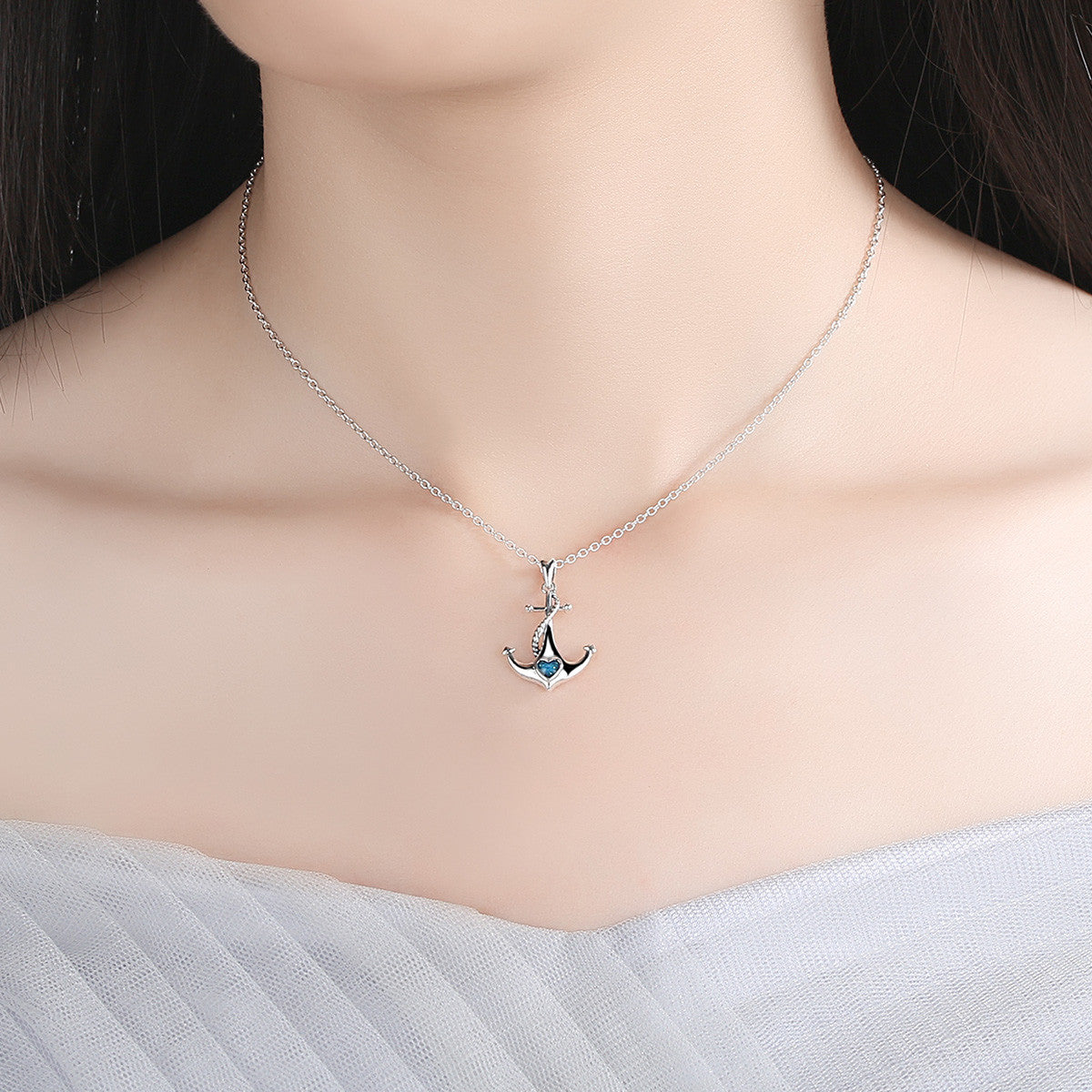 Classic 925 sterling silver blue heart crystal anchor pendant classic 925 sterling silver blue heart crystal anchor pendant necklaces women fashion jewelry engagement scn051 aloadofball Gallery