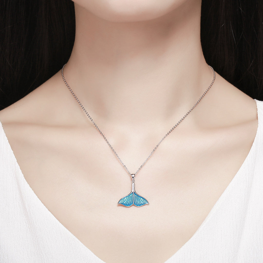 925 Sterling Silver Ocean Sea Blue Enamel Fish Whale's Tail Pendant Necklaces Women Luxury Silver Jewelry SCN096