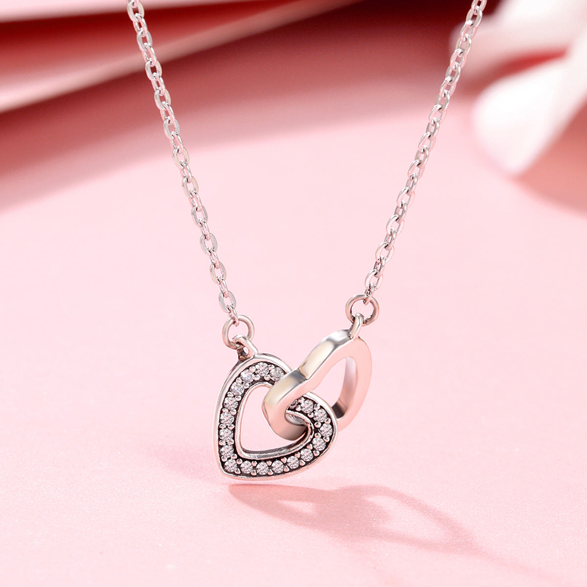 Valentine day gift 925 sterling silver connected heart couple heart valentine day gift 925 sterling silver connected heart couple heart pendant necklace for girlfriend silver jewelry aloadofball Images