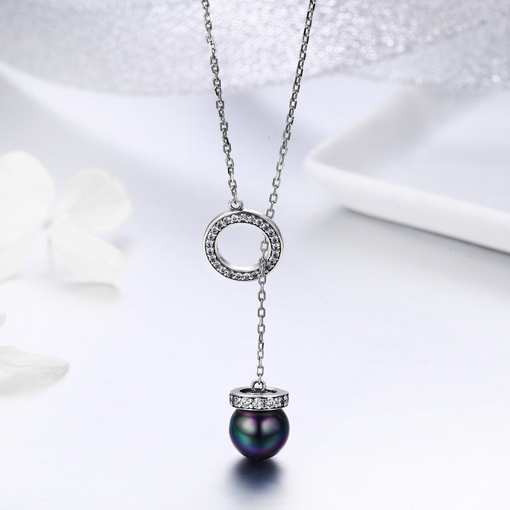 100% 925 Sterling Silver Circle Black Imitation Pearl Elegant Long Chain Women Pendant Necklace Silver Jewelry SCN200