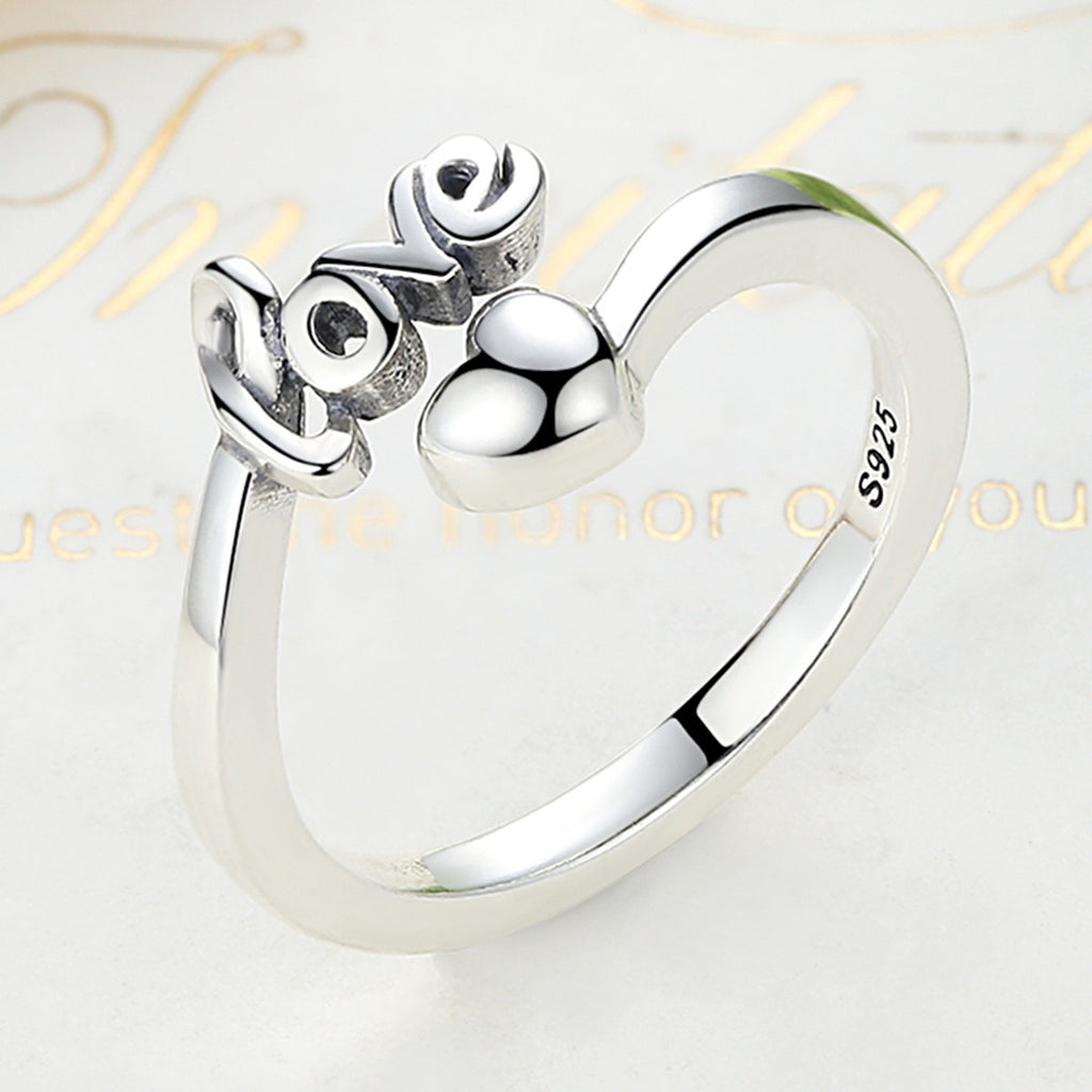 100% 925 Sterling Silver I Love You Heart Ring for Woman Wedding Engagement Jewelry SCR024