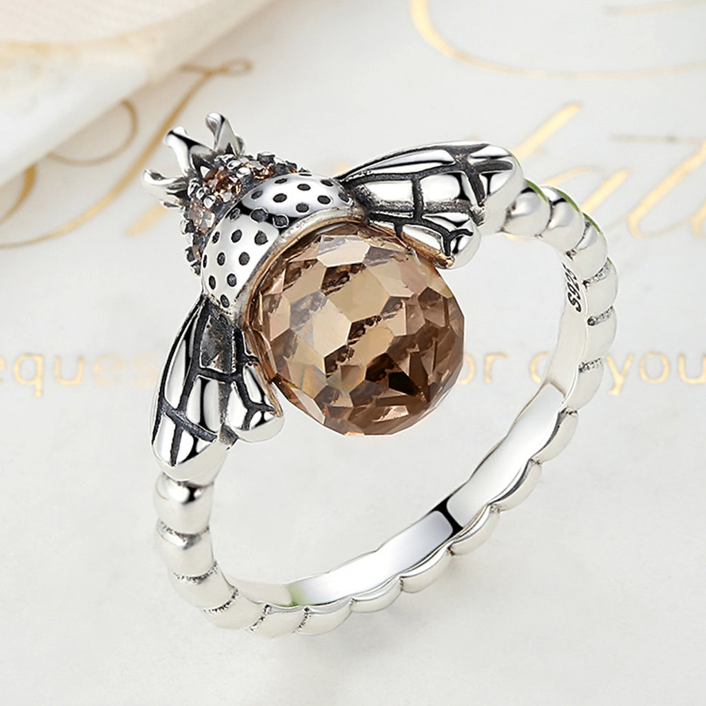 Authentic 925 Sterling Silver Orange Wing Animal Bee Finger Ring for Woman Sterling Silver Jewelry SCR025