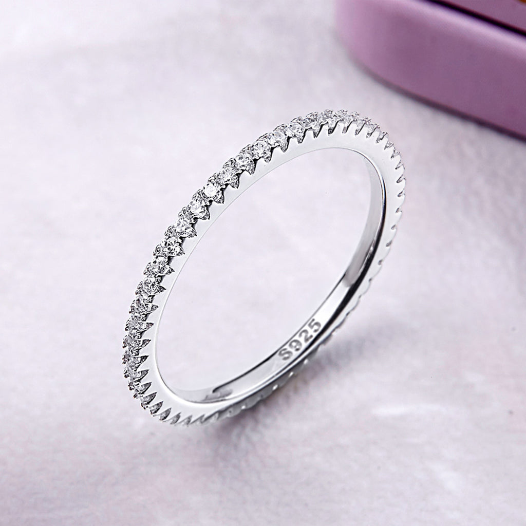 925 Sterling Silver Circle Clear Cubic Zircon Geometric Stackable Promise Rings for Women Wedding Jewelry Gift SCR066