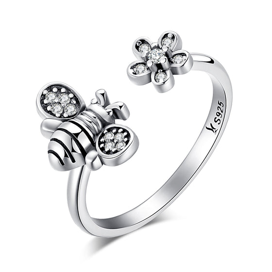 925 Sterling Silver Cute Bee Poetic Daisy Flower Open Finger Ring for Women Sterling Silver Jewelry SCR086