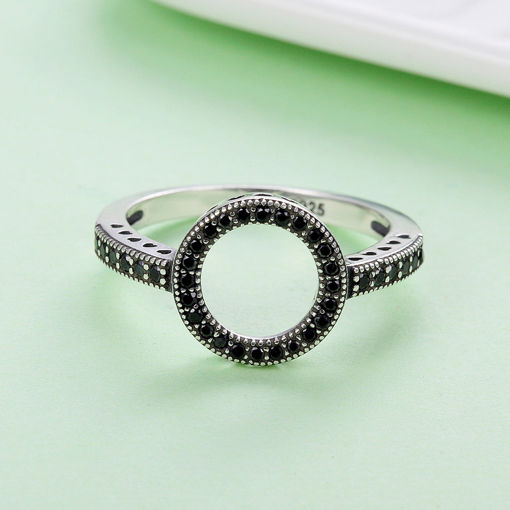 2018 HOT SELL 100% Genuine 925 Sterling Silver Forever Clear CZ Circle Round Finger Rings for Women Jewelry SCR112