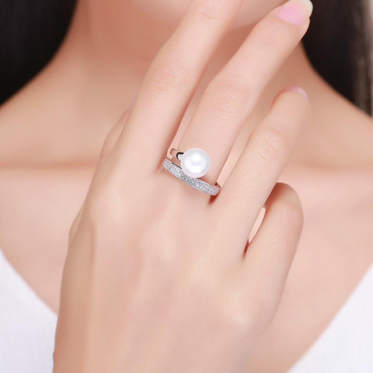 rings jewelry products cubic promise circle gift stackable clear silver engagement women sterling for zircon wedding geometric