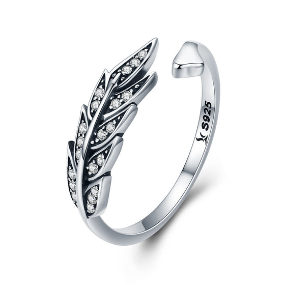Hot Sale Authentic 925 Sterling Silver Feather Wings Adjustable Finger Ring for Women Sterling Silver Jewelry Gift SCR313