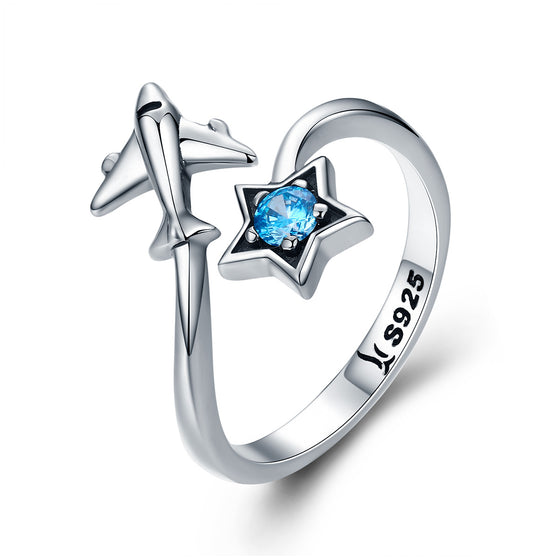 100% 925 Sterling Silver Trendy Star Tours Star & Plane Female Finger Rings for Women Sterling Silver Jewelry Anel SCR322