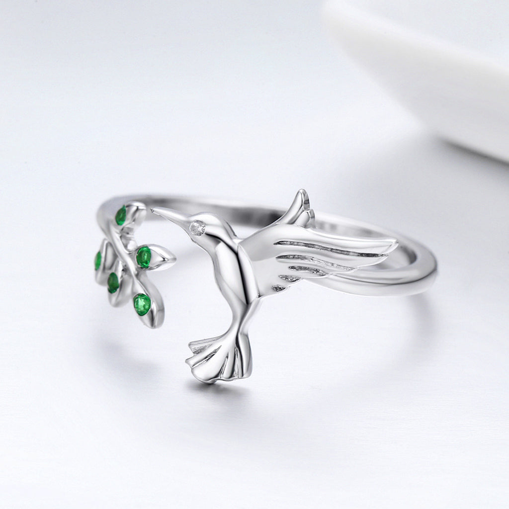925 Sterling Silver Bird & Spring Tree Leaves Open Size Finger Rings for Women Sterling Silver Jewelry SCR323