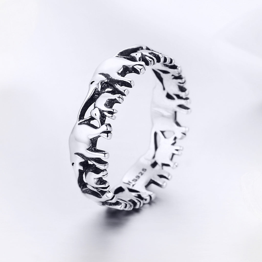Trendy 100% 925 Sterling Silver Stackable Animal Collection Elephant Family Finger Rings for Women Silver Jewelry SCR344