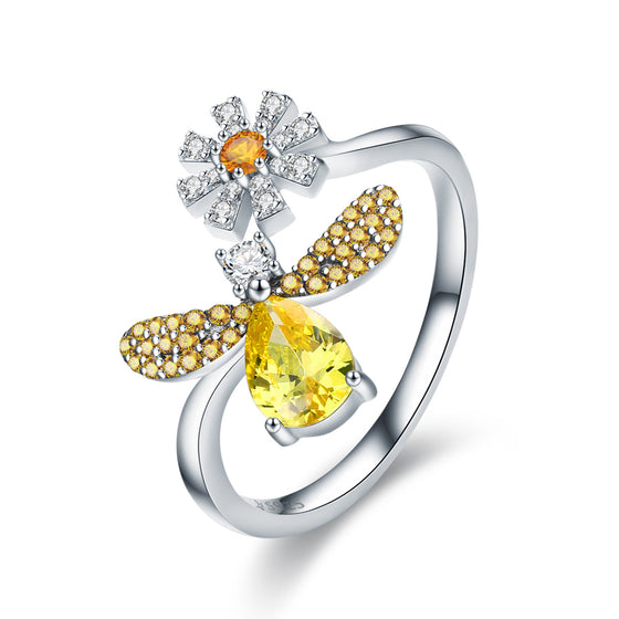100% Authentic 925 Sterling Silver Fashion Bee with Daisy Flower Open Size Finger Ring for Women Party Jewelry SCR348