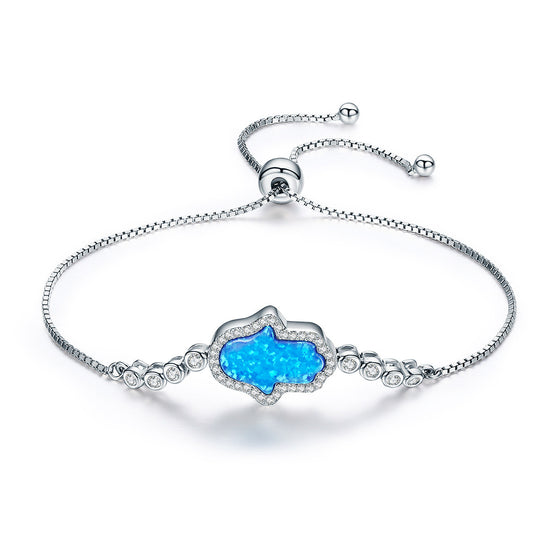925 Sterling Silver Blue Opal Hand Adjustable Bracelet With Clearly Cubic Zirconia For Women Wedding Fine Jewelry VSB002