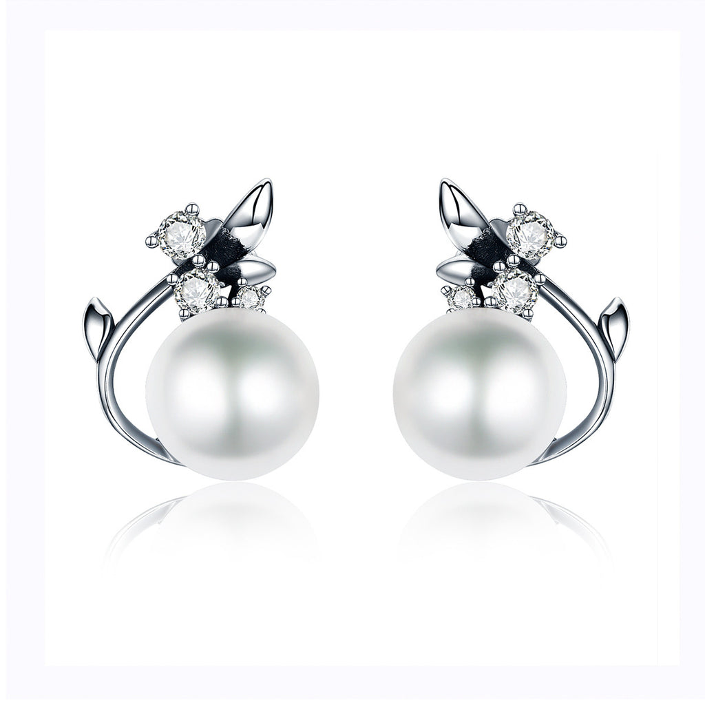 Vintage Genuine 925 Sterling Silver Round Shape Pearl Stud Earrings for Women Wedding Engagement Jewelry VSE018