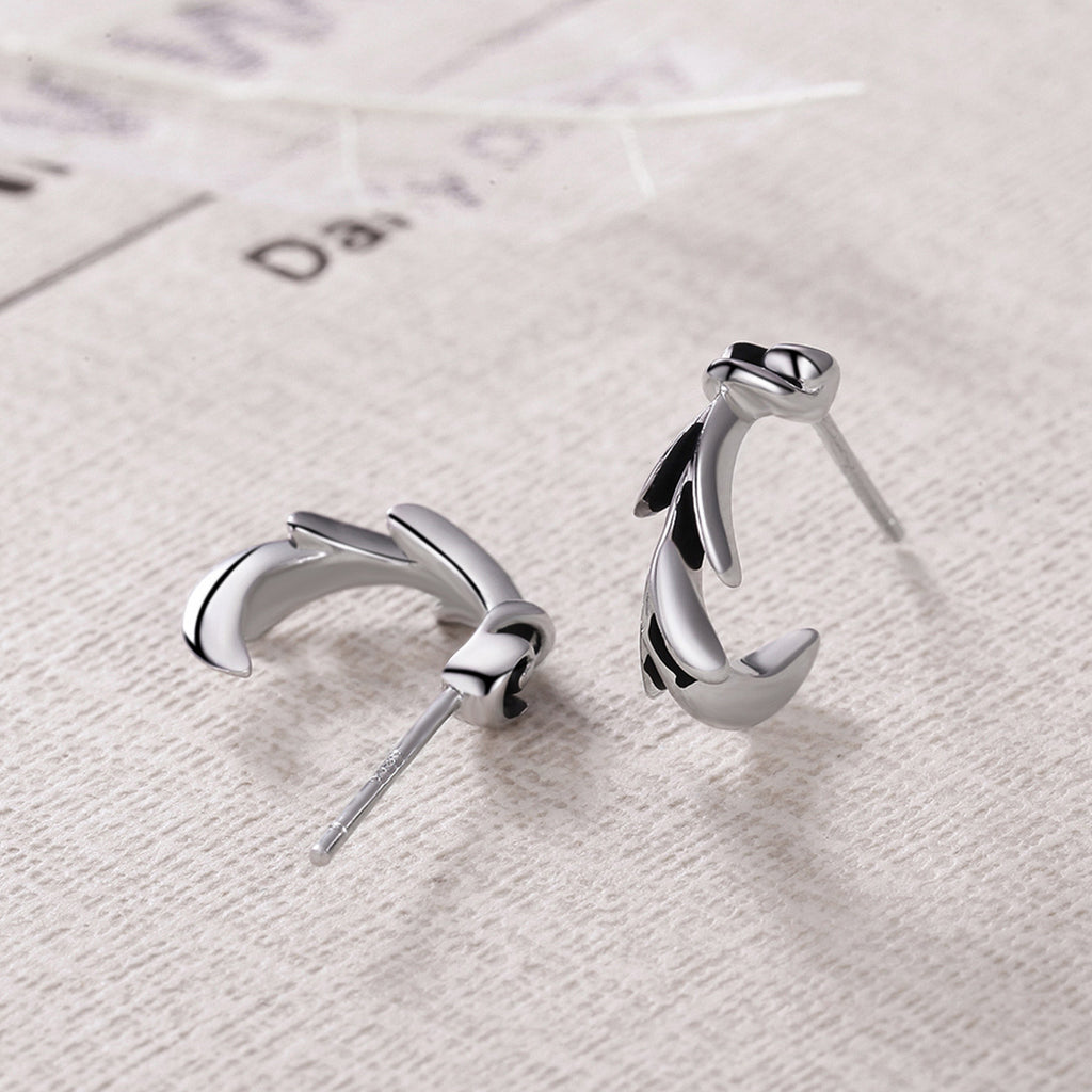 925 Sterling Silver Wheat Vintage Trendy Stud Earrings for Women Party Fine Jewelry VSE050