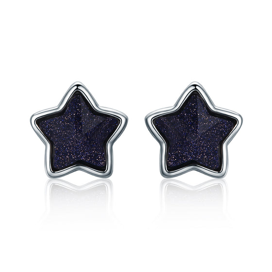 925 Sterling Silver Purple Sands Star Lucky Stud Earrings For Women Fine Jewelry VSE057