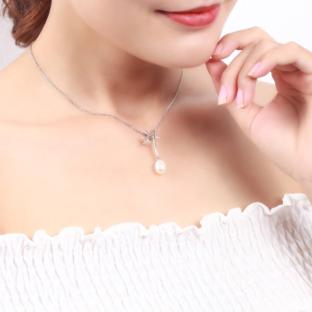925 Sterling Silver Branch White Natural Freshwater Pearl Pendant Necklace for Girl Ladies Fine Jewelry VSN035