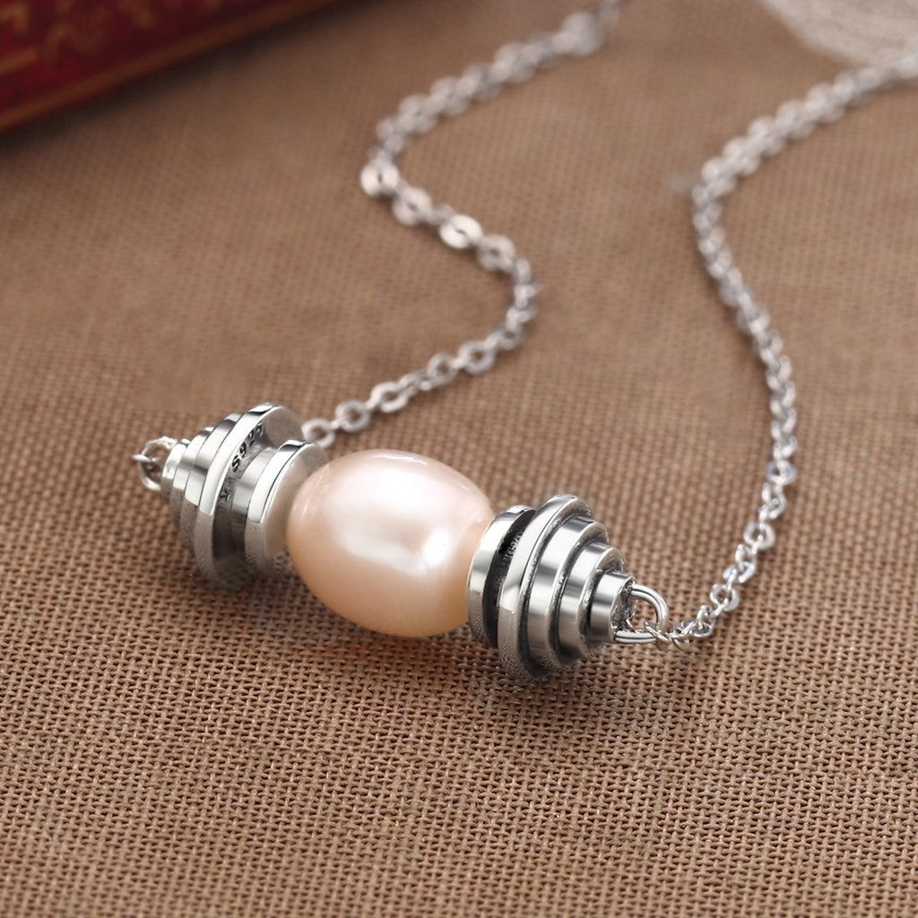 925 Sterling Silver Beige Natural Freshwater Pearl Pendant Necklace for Women Wedding Fine Jewelry VSN036